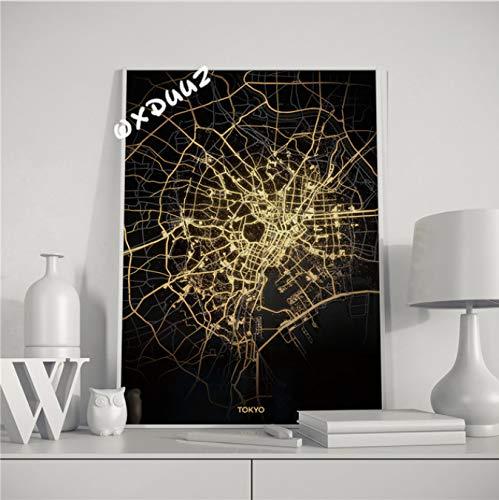 Stoere Zwartgouden Kaart Van Beroemde Steden In Verschillende Landen Van De Scandinavische Wereld Minimalistische Familiestijl Schilderij Wanddecoratie 40X50Cm (N: 0349)
