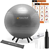 Yoga Ball for Kids Stability | Ideal Flexible Seating for Classroom Furniture & Replacing Kids Computer Chair | 55cm Bouncy Balance Ball Chair & Fidget Band, With Pump & Exercise Workout Guide