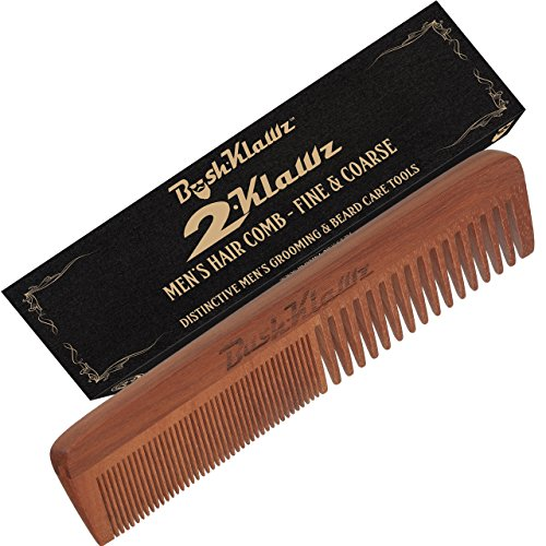 2Klawz Hair Comb for Men  Hair and Beard Comb with Wide and Fine Teeth Full Size 7quot Combination Comb  Best Man Comb Grooming Gift Special Gift For Mens comb Clark Kent Comb Brush