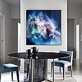 ganlanshu Pittura Senza Cornice Pittura Astratta su Tela Blu Pop Art Poster e Stampa murale Soggiorno Decorazione della casaZGQ5555 70X70cm