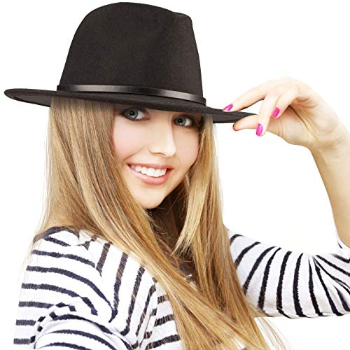 Maylisacc Sombrero Fedora Negro Hombre Mujer con Cinturón con Hebilla Vintage, ala Ancha, Gorra Fedora Fieltro de...