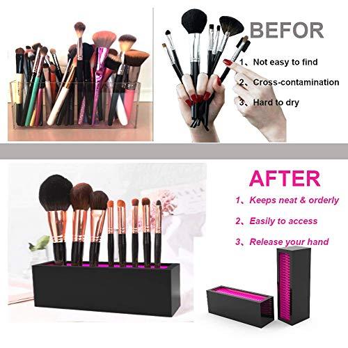 SMISOL Makeup Brush Holder Cosmetic Organizer, Vanity Display Storage & Air Drying (black-01) Photo #6