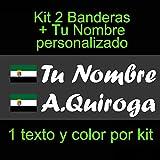 Vinilin - Pegatina Vinilo Bandera Extremadura + tu Nombre - Bici, Casco, Pala De Padel, Monopatin, Coche, etc. Kit de Dos Vinilos (Blanco)