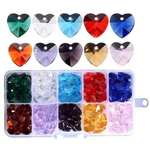EXCEART 1 Caja de Cuentas de Corazón de Cristal Amor en Forma de Corazón Lámpara de Cortina Gota Hecha a Mano Bling Brillante Colorido Collar Pulsera Encantos para Mujeres Damas 14 Mm