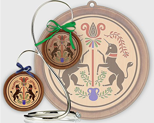Red Tail Crafters Unicorns 3in/4in Hardwood Ornament PA Dutch Laser-Engraved Hex Sign