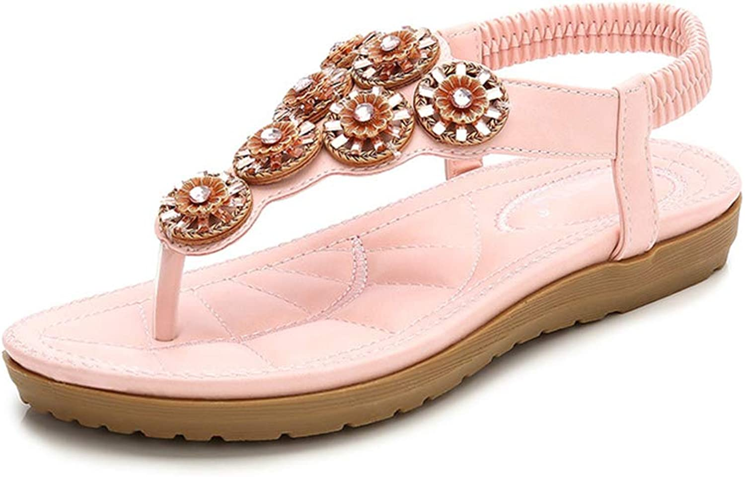 Sandals Women's Summer Leather Boho Thongs Sandals Peep-Toe Flip Flops Flat shoes