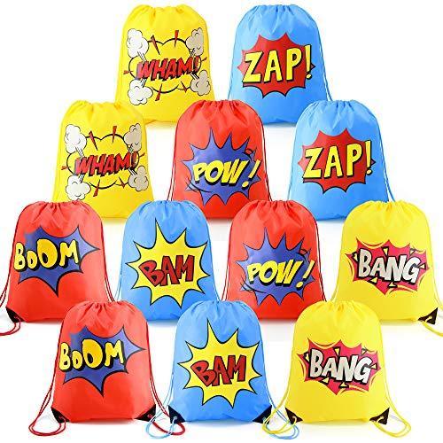 BeeGreen Superheld Party Kindergeburtstag Mitgebsel Turnbeutel für Kinder 12 Stück Kordel Rucksack für Jungen Mädchen Superhero Gastgeschenke Beutel