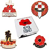 New Boxed Set of 4 Large Red Poppy Badges Lest We Forget Pin Remembrance Day World War 1 Lone Soldier Veterans Enamel Remember Them Badge
