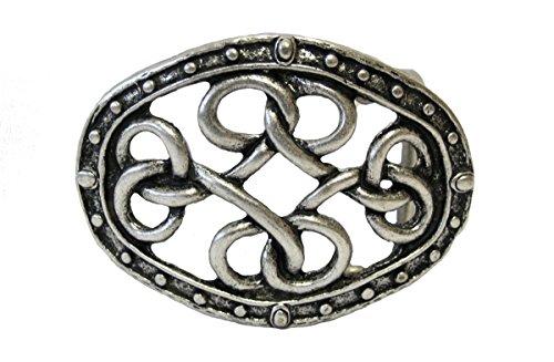 Dark Dreams Gothic Mittelalter schwarzer Gürtel Ledergürtel mit Gürtelschnalle Keltische Knoten in altsilber, Länge:90 - 2
