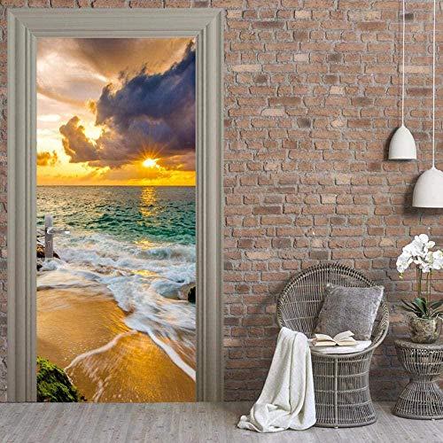 baozge Living Room Bedroom Sea Door Sticker Print Image Updates Home Dress Decal-95X215CM-95X215CM