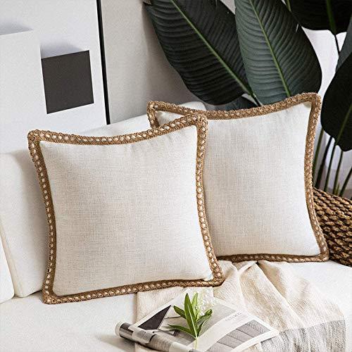 Juego de 2 fundas de cojín de lino, decorativas cuadradas, fundas de cojín, decoración del hogar, fundas de almohada para sofá, dormitorio, silla, 45 x 45 cm, color blanco