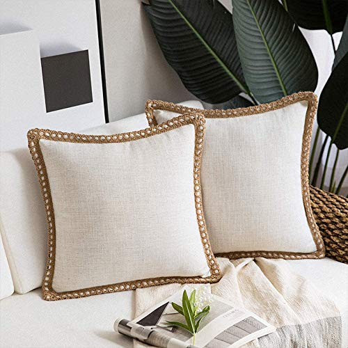 Juego de 2 fundas de cojín de lino, fundas de cojín decorativas cuadradas para decoración del hogar, fundas de almohada para sofá, dormitorio, silla, 45 x 45 cm, color blanco