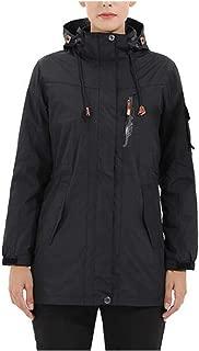 FYXKGLa Women's Three-in-one Jacket Warm ski Jacket Waterproof Mountaineering Jacket Hooded Sports Jacket (Color : Black, Size : XXXXL)