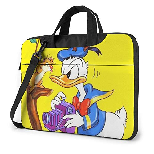Hdadwy 14 Inch Laptop Bag Donald Duck with Squirrel Laptop Briefcase Shoulder Messenger Bag Case Sleeve