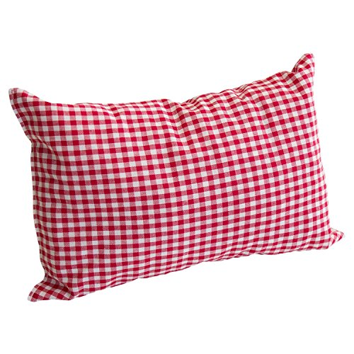 Zirbelkissen Befüllt mit 100 Prozent Zirbenholz aus den Alpen - Kissenbezug Baumwolle - Enthält Frisch Gehobelte Zirbenspäne (20cm X 30cm) (rot kariert groß)