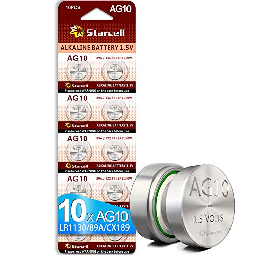 Starcell Pack of 10 LR1130 1.55 V Alkaline Button Cell AG10 Batteries DLR1130, SR1130, L1131, LR1130, LR54, 389, 189-1, 389A, 390A, D189, 189, G10, G10A, GP89A, KA54, RW89, V10GA