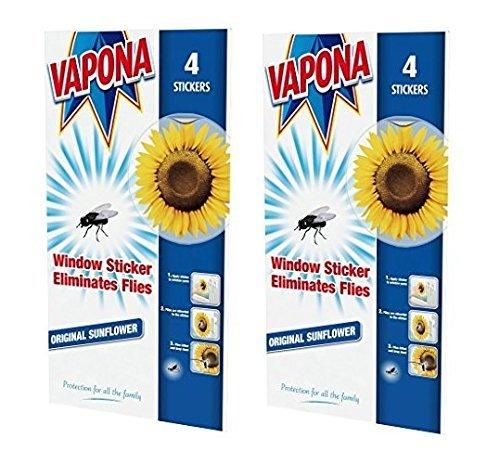 2 x Vapona Window Stickers Sunflower x 8 Insect Flies Wasp Pest Attractor & Eliminator Killer (2 Packs)
