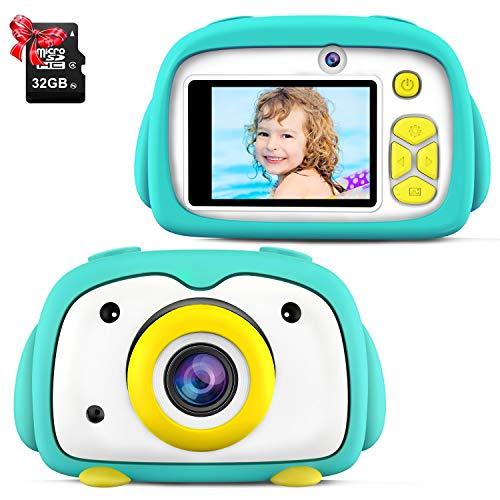 "ShinePick Camara Digital Niños, 12MP / 2 Lentes de Cámara / 1080P / 32GB Tarjeta / Zoom Digital de 4X / Tarjeta de Memoria / 2"" TFT LCD de la Pantalla Camara Fotos Infantil Niños Regalos (Verde)"