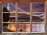 KAIASH 3D Wall Sticker Furniture Lions Gate Bridge in Vancouver at Night Window 3D Wall Sticker Wall Decoration 3D Wall Sticker Wall Decal 92x62cm