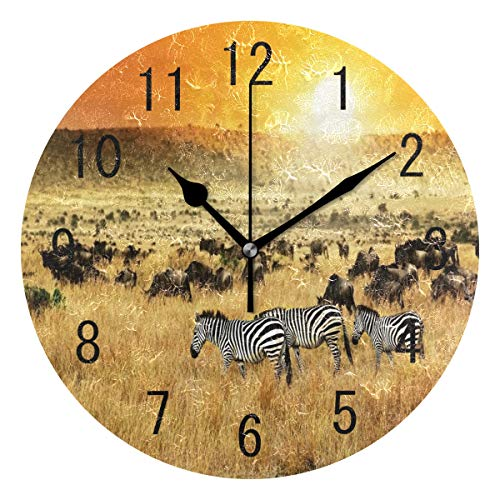 Use7 Wanduhr, afrikanische Landschaft, Zebra, rund, Acryl, Nicht tickend, geräuschlose Uhr, Kunst für Wohnzimmer, Küche, Schlafzimmer