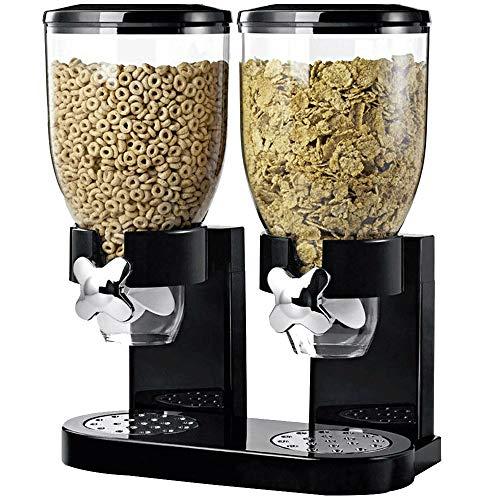 Sureh, dispenser per alimenti secchi con doppio controllo acrilico doppio dispenser per cereali, grande distributore per snack, contenitore ermetico p