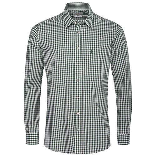 Almsach Herren Trachtenhemd Regular-Fit Trachten-Mode traditionell-kariert s-XXL viele Farben, Größe:XXL, Farbe:Dunkelgrün