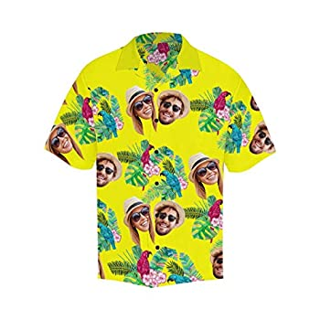 Personalized Face Flower Birds Button Up Shirts Short Sleeve Tops XL