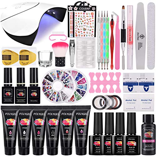 TopDirect 36W UV/LED Lámpara Uñas Polygel Uñas Kit, 6Pcs extensión de uñas polygel 15ml + 4 Pcs Esmalte Semipermanente Gel Uñas Soak off 8ml con Top y Base Coat Herramientos de Uñas Arte