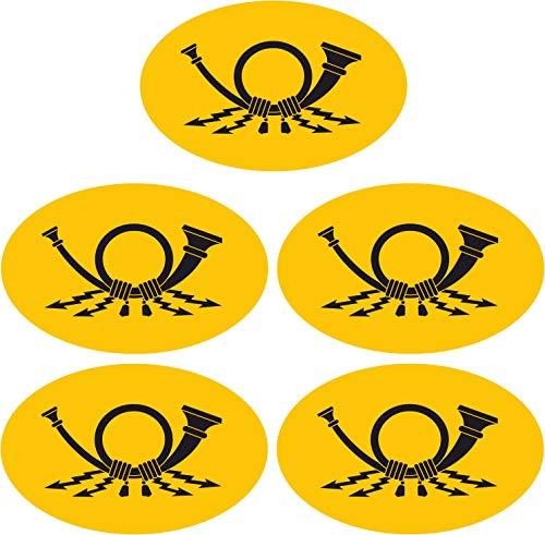2,5x4 cm - 5 Stück - oval - Mini Premium Aufkleber Post Posthorn Sticker für Briefkasten Postkasten wetterfest UB-beständig RC