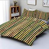 Juego de funda nórdica, Fondo de bambú Imagen de la naturaleza Zen Diseño de interiores del hogar Café Estilo asiático Arte Greenery Decorativo Juego de cama de 3 piezas con 2 fundas de almohada, verd