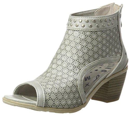 MUSTANG Damen 1221-809-21 Offene Sandalen mit Keilabsatz, Silber (21 Silber), 38 EU