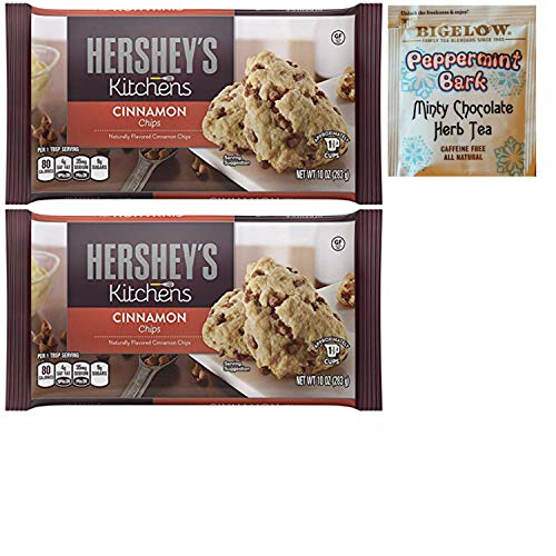 Hershey Cinnamon Flavored Chips. Convenient One Stop Shopping for Winter, Christmas or Office Party Baked Goods. Who Doesn't Love Home Made Cookies? Also Includes a Bigelow Peppermint Bark Tea Sample.