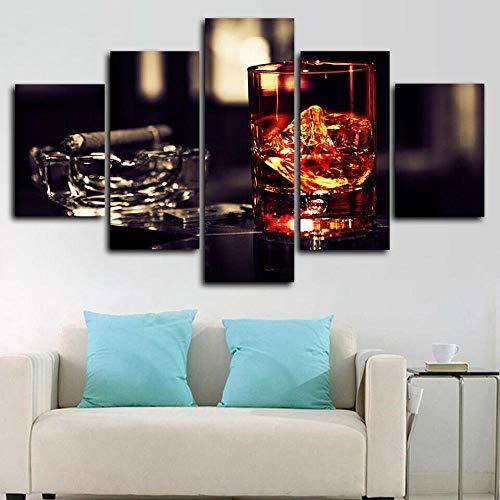 HJIAPO Cuadro De Tela 5 Piezas Cigarro Whisky 5 Piezas Cuadros Lienzo Decoracion Salon Modernos De Pared Lienzos Murales 150 * 80Cm