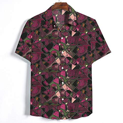 Camisas de Manga Corta para Hombre Funky Printed Fancy Floral Tops Patrón único Oversize Loose Beach Camisa Casual de Estilo Hawaiano M
