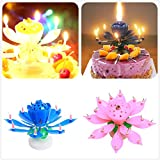 Rotating Lotus Cạndlê Birthday Cake Flower Musical Music Cạndlês Whit Music Magic,Birthday Cạndlê Double Lotus Flower Blossom Cạndlê for Birthday Party Rotating Music Birthday Cake Flat Rotating
