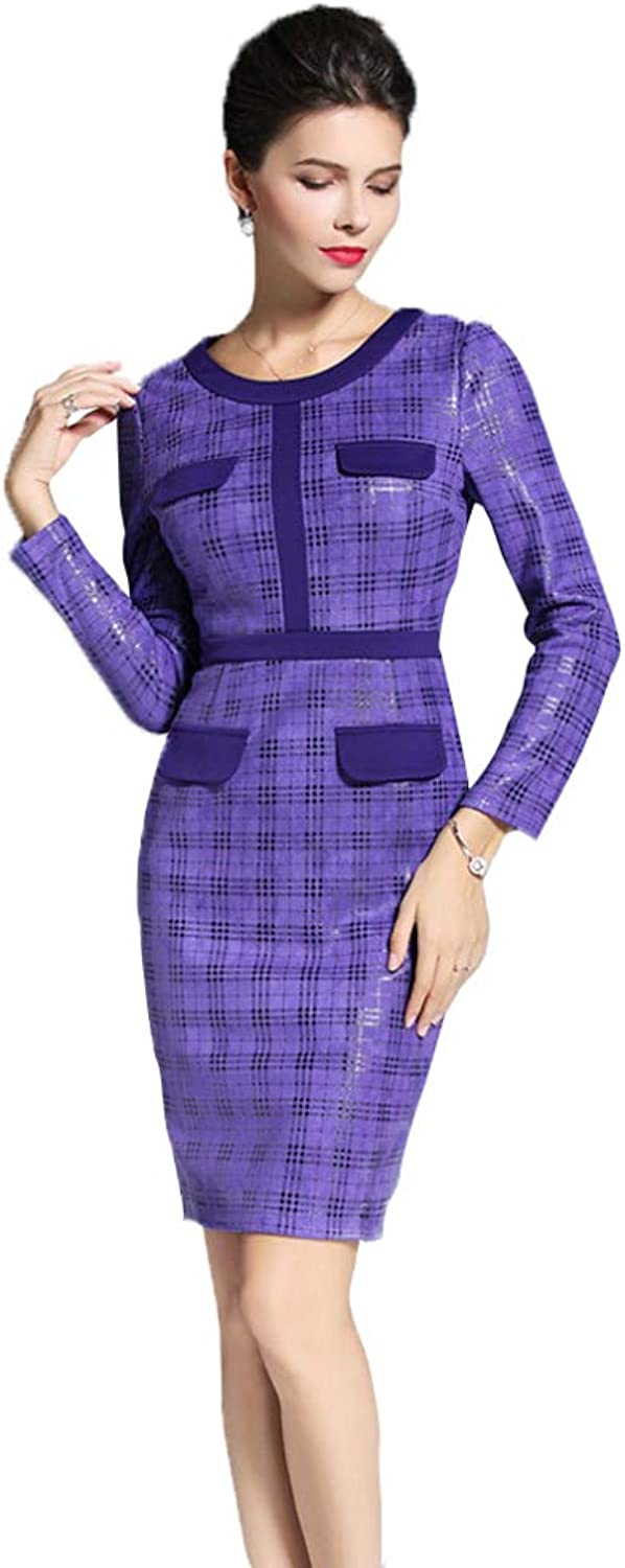 CVCCV Purple Plaid Long Sleeve Step Skirt New Waist Thin Pack Hip Dress Long