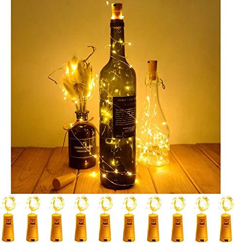 MIFIRE - Paquete de 10 luces de botella para botella de vino, luces LED de alambre de cobre con pilas para botellas de vino con corcho para interior, exterior, decoración de centro de mesa de fiesta