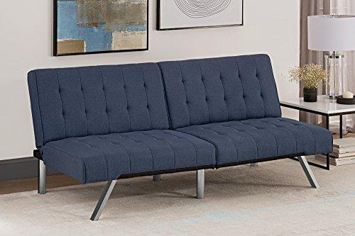 DHP Emily Convertible Sofa Bed, Navy Linen, (H) 82 x (W) 180 x (D) 87 cm