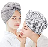 ELLEWIN Organic Bamboo Hair Towel Wrap 2 Pack, Drying Bath Shower Head Turban With Buttons, Super Absorbent Quick Dry Hair Towel For Women Girl Anti-Frizz