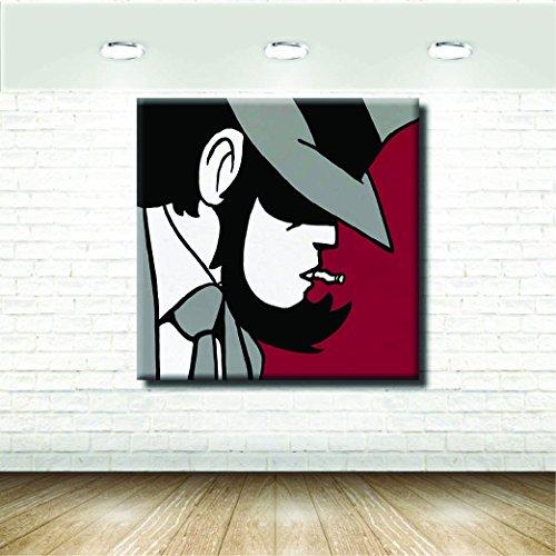 stampepersonalizzate.com Stampa su Tela Canvas - Formato 60X60 Solo Tela - Stampa in qualita Fotografica - Quadri Fumetti & Cartoni - Jigen Lupin Rosso Nero Grigio