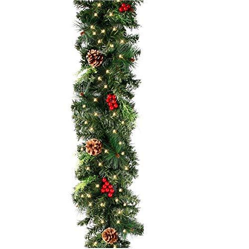 camouflage net Ghirlanda Natalizia con Luci Ghirlanda di Natale Artificiale Lunga a LED Luminose con Pigna Frutti Rossi per Decorazioni Casa (1 Pezzi, 180cm 30 LED)