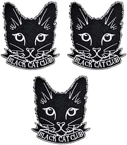 Umama Patch Set of 3 Black CAT Club Craft Patches Cute Cat Kitten Cartoon Patch Embroidered product image
