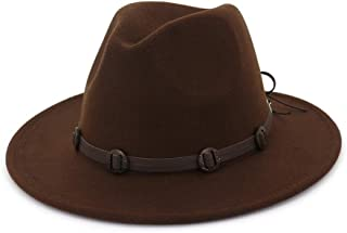 Wide Brim Woolen Felt Jazz Panama Hat Western Cowboy Cowgirl Hats with Leather Decorated Trilby Fedora for Men Women` TuanTuan (Color : Coffee, Size : 56-58)