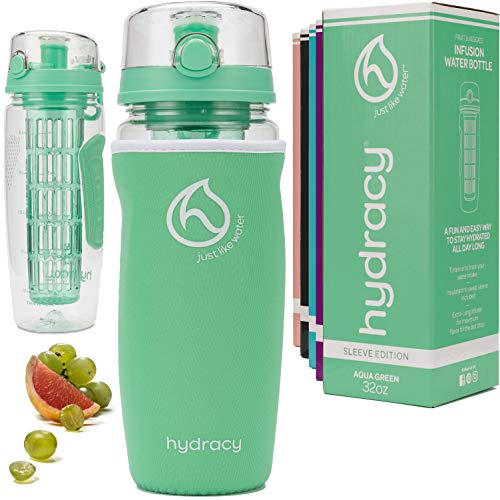Hydracy Fruit Infuser Water Bottle - 32 oz Sports Bottle - Time Marker, Full Length Infusion Rod & Insulating Sleeve + 27 Fruit Infused Water Recipes eBook Gift - Aqua Green