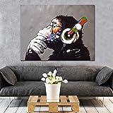 UIOLK Pensamiento Creativo DJ Mono Lienzo Pintura Carteles e Impresiones imágenes murales, Sala de Estar decoración del hogar