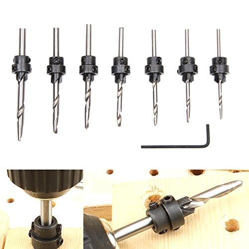 Fortag 8 tlg 7 Senker HSS Bohrersatz Schraube Holzverarbeitung Fasen Screwdriver Bithalter Werkzeug Holzbearbeitungswerkzeuge 5-10 # und 12 #