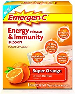 Emergen-C Super Orange Energy Release and Immunity Support Food Supplement - Pack of 16