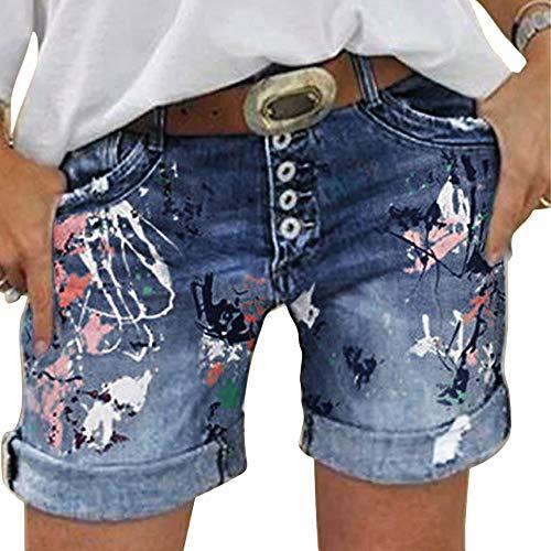 OEAK Damen Lochjeans Shorts Sommer Beiläufige High Waist Zerrissenes mit Knopfleiste Hotpants Jeans Boyfriend Gewaschene Distressed Löcher Kurz Denim Hosen