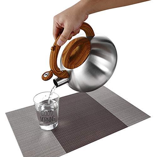 Hervidor de té silbante de acero inoxidable, 3.2 cuartos de galón, superficie de acero inoxidable cepillado
