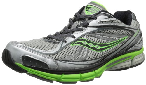 Saucony Men's Omni 12 Running Shoe,Silver/Green/Black,10 M US